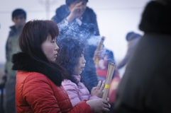 Rural China Spring Festival sacrifice. China XINGTAI city BAIXIANG county, March 2, 2015: In March 2, 2015, at the XIAOLIPU village held a traditional vulcan Royalty Free Stock Photos