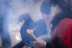 Rural China Spring Festival sacrifice. China XINGTAI city BAIXIANG county, March 2, 2015: In March 2, 2015, at the XIAOLIPU village held a traditional vulcan Stock Photo