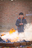 Rural China Spring Festival sacrifice. China XINGTAI city BAIXIANG county, March 2, 2015: In March 2, 2015, at the XIAOLIPU village held a traditional vulcan Royalty Free Stock Photo