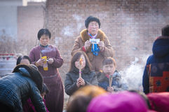Rural China Spring Festival sacrifice. China XINGTAI city BAIXIANG county, March 2, 2015: In March 2, 2015, at the XIAOLIPU village held a traditional vulcan Royalty Free Stock Photography