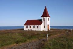 Rural church. Old small wooden church in Hellnar, Snaefellsnes peninsula, Iceland. Beautiful landmark Stock Photography