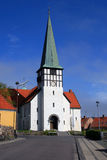 Rural church. White church in Ronne, Bornholm Stock Photography