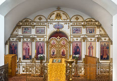 Rural church. Interior of small orthodox church. Russia Royalty Free Stock Images