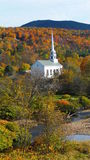 A rural church in autumn. A white steeple in rural Vermont in autumn Stock Images