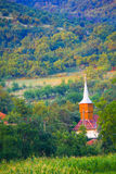 Rural church by hillside stock images