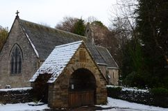 Rural Church - Old Stone Church, Pitlochry. An exterior winters day view of the old stone church and church yard in Pitlochry, Scotland Royalty Free Stock Photos