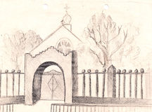 Rural church sketch. hand painted Pencil drawing Stock Image