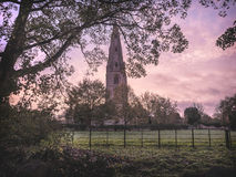 Rural Church at Sunrise Stock Image