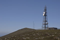 Rural communications radio. Rural mountain communications radio, tv and internet to an island Stock Image