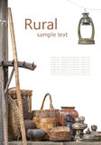 Rural composition of the older subjects isolated on a white back Royalty Free Stock Photo