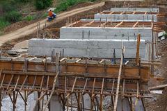 Rural construction of concrete bridges Stock Image