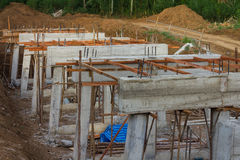 Rural construction of concrete bridges Royalty Free Stock Image