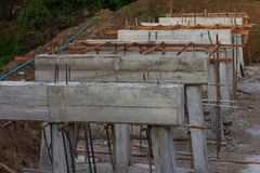 Rural construction of concrete bridges Stock Photo