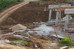 Rural construction of concrete bridges Royalty Free Stock Photo
