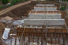 Rural construction of concrete bridges Stock Photos