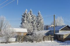 Rural constructions in the winter. Rural constructions and trees covered with snow Royalty Free Stock Photo