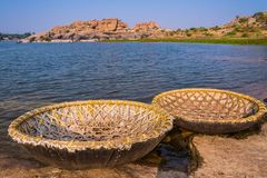 Coracle boats at Hampi Stock Images