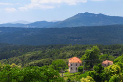 Rural Corsican landscape, old living houses Stock Photos