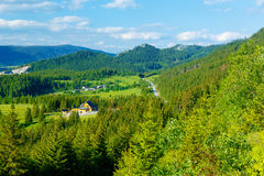 Rural cottage in the mountains and green meadow. . Slovakia. Stock Photography