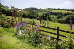 Rural country garden with view. Sloping garden with flowers, an arch and a view, set in beautiful English Welsh countryside in Carmarthenshire, Wales. There are Stock Image