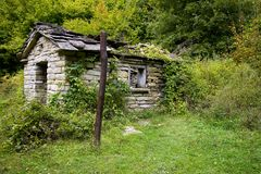 Rural country home ruin. A rural home in ruin abandonated in a forest Stock Photography