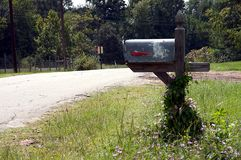Rural Country Mailbox. A country rural mailbox with flowers around it in the horizontal or landscape view Stock Images