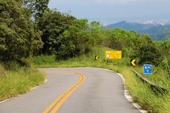 Rural Country Road on the Mountain of Jaragua Peak, Sao Paulo, Brazil.  stock images