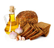 Rural country still life. Bread, sunflower oil Stock Photo