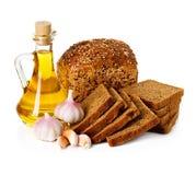 Rural country still life. Bread, sunflower oil Stock Photo