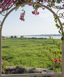 Rural countryside view of a river in summer through trellis Stock Image