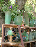 Rural Craft. Display of hand-made pottery for sale Stock Photo
