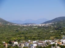 Rural crete. Valley in rural cretan region, city of neapoli in the background royalty free stock photo