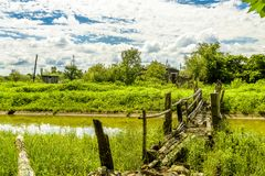 Rural Crossings. A old wooden bridge over a slow flowing river with lush greenery and blue skies and puffy clouds Stock Image