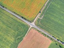 Rural crossroads aerial view stock image