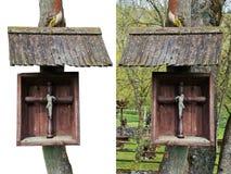 Rural crucifixion Jesus of Christ on oak Stock Photos