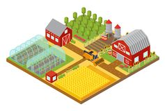 Rural 3d farm isometric template with garden, field farmer house and greenhouse game or app vector illustration. Farm isometric template with garden, field Stock Image