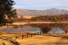 Rural dam in the Drakensberg area Stock Photo