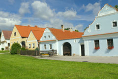 Rural decorated color houses. Rural decorated houses in Zabori, Czech Republic. UNESCO World Heritage Site in South Bohemia Royalty Free Stock Photos