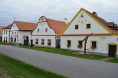 Rural decorated houses in Holasovice. Czech Republic. UNESCO World Heritage Site in South Bohemia Royalty Free Stock Photos