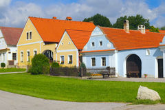 Rural Decorated Houses In Zabori (Czech Republic) Stock Photos