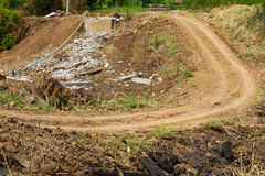 Rural dirt road ditch Royalty Free Stock Images