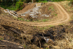 Rural dirt road ditch Royalty Free Stock Photo