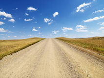 Rural Dirt Road Through Grassland royalty free stock photo