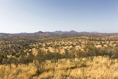 Rural area landscape near Windhoek in Namibia. Rural dry desert area landscape near Windhoek in Namibia stock images