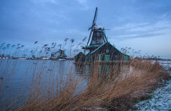 Rural dutch scenery. Traditional Dutch landscape early in the morning Stock Photography