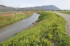 Rural Dyke or dike and Waterway Royalty Free Stock Images