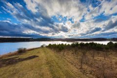 Rural early spring landscape photogrtaphed from above (from tall observation tower) Stock Photos