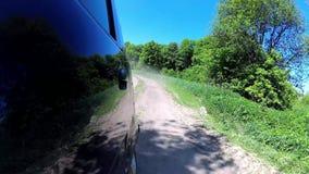 Rural Earth Road Beautiful Evergreen Trees Lush Green Pov backside. Rural earth road, evergreen trees lush green vegetation, pov back motion view stock video