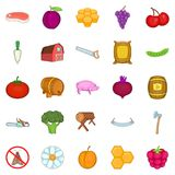 Rural economy icons set, cartoon style. Rural economy icons set. Cartoon set of 25 rural economy vector icons for web  on white background Stock Images
