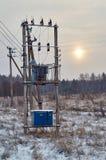 Rural electric transformer Royalty Free Stock Image
